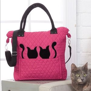 Quilted silhouette cat 🐈 tote bag